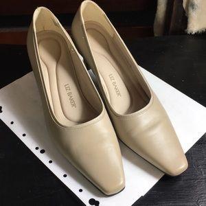 Liz Baker leather square toe nude color heels